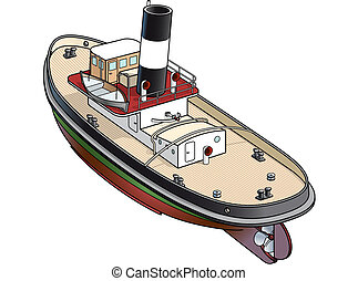 Isometric vector illustration of a tugboat from Falmouth - ...
