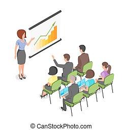 Isometric vector illustration of business presentation.