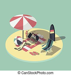 isometric vector illustration of empty beach scene