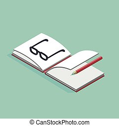 isometric vector illustration of open book and glasses