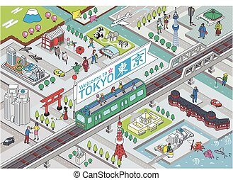 Isometric vector Illustration of TOKYO CITY JAPAN.