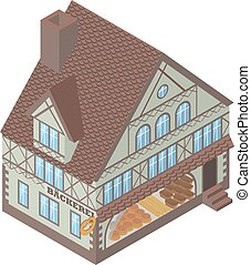 Tudor style house - Isometric vector illustration of Tudor...