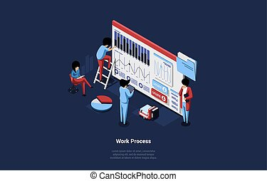 Isometric Vector Illustration Of Working Process Concept. 3D Cartoon Design Composition, Group Of Male And Female Business Characters Near Big Screen With Infographics Of Charts, Graphs, Messages