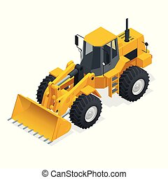 Isometric Vector illustration yellow bulldozer tractor, construction machine, bulldozer isolated on white. Yellow Wheel Loader, Industrial Vehicle. Pneumatic Truck. Manufacturing Equipment