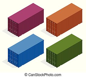 Isometric vector large metal containers for transportation. Closed doors with cardboard boxes. Delivery of cargo, shipping.