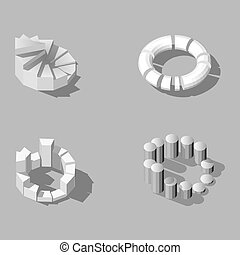 Isometric vector low poly, set of infographics in halftones.