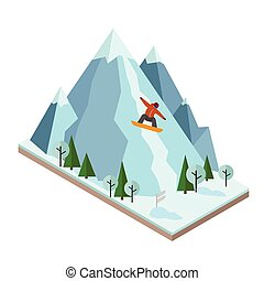 Isometric vector man pulls off the mountain. Snowboarding,...