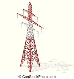 isometric, vector, pole., metaal, hoog, hoogspanningsmast, achtergrond, spanning, perspective., wit rood, 3d