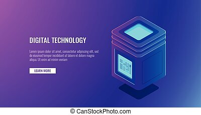 Isometric vector server room, personal data protection concept, big data processing, database icon, cloud storage, hosting