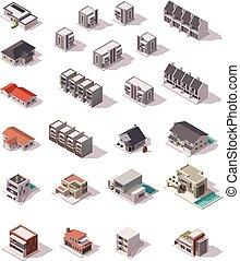 isometric, vector, set, gebouwen