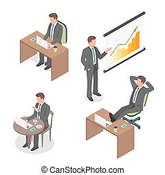 Isometric vector set of businessmen.