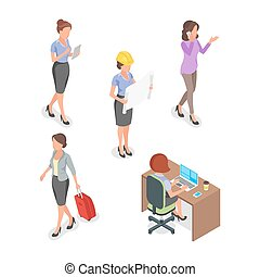 Isometric vector set of businesswoman.