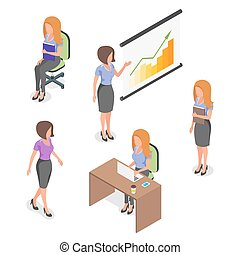 Isometric vector set of young businesswomen.