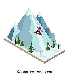 Isometric vector woman pulls off the mountain. Snowboarding,...
