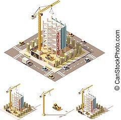 isometric, vektor, házhely, poly, szerkesztés, alacsony