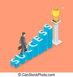 isometric, vektor, lépcsősor, concept., siker