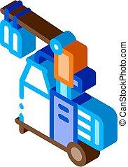 isometric, vektor, palack, ikon, gép, átutalás, ábra, megfej