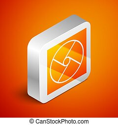 Isometric Ventilation icon isolated on orange background. Silver square button. Vector Illustration