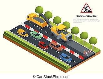 isometric, verkeer, op de straat, straat, verstelt, concept., koude, freesmachine, het verwijderen, asfalt, laag, op, een, road.