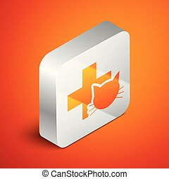 Isometric Veterinary clinic symbol icon isolated on orange background. Cross with cat veterinary care. Pet First Aid sign. Silver square button. Vector Illustration