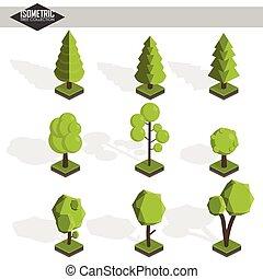 isometric, vetorial, árvore, jogo