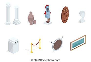 isometric, vetorial, exibições museu, exibição