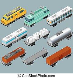 isometric, vetorial, ferrovia, imagem, train.
