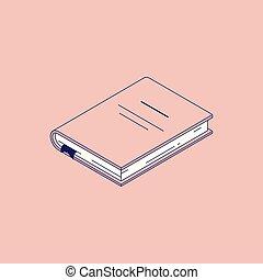 isometric, vetorial, hardcover., ilustração, livro, papel, diário, ou, mentindo