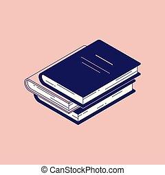isometric, vetorial, hardcover., modernos, -, ilustração, papel, livro, livros, desenho, pilha, mentindo