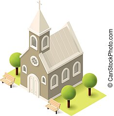 isometric, vetorial, igreja