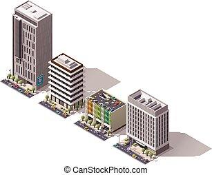 isometric, vetorial, jogo, edifícios