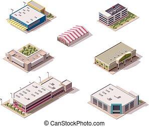 isometric, vetorial, lojas, jogo