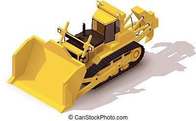 isometric, vetorial, mineração, escavadora