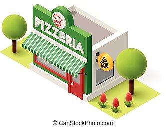 isometric, vetorial, pizzeria