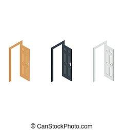 isometric, vetorial, porta