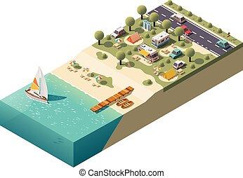 isometric, vetorial, praia, acampamento