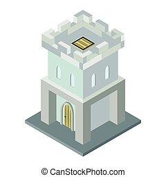 isometric, vetorial, tower., fortaleza, ícone