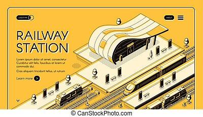 isometric, vetorial, webpage, modernos, estação, estrada ferro