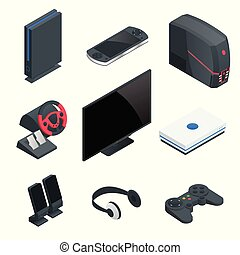 Isometric Video Game console icon set. Simple set of game...