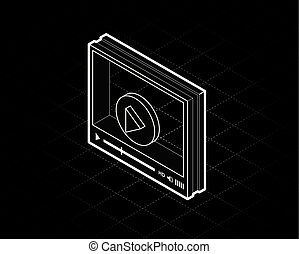 isometric video player interface for web site design or mobile application. Vector illustration on black