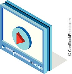 Isometric video player interface for web site design or mobile application. Vector illustration on white