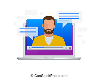 Isometric Video streaming. View video lessons, training or training on a laptop. Learning languages.