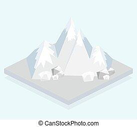 Isometric view, a mountain - Ski Mountain. Isometric view....