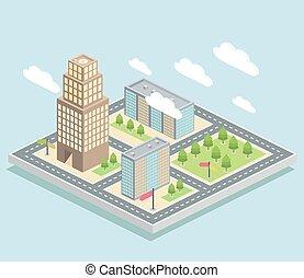 Isometric view, city