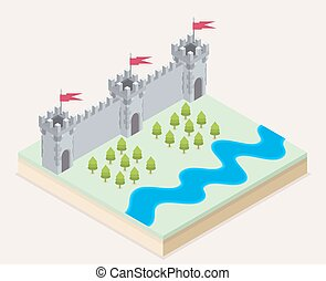 Isometric view of a medieval castle