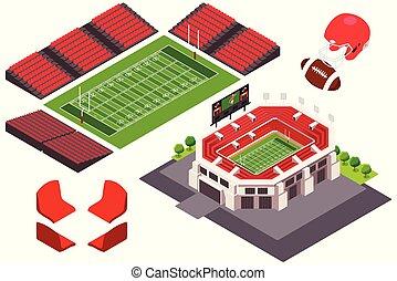 Isometric View of Football Stadium Illustration