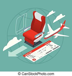 Isometric View of the Interior of an Airplane. Airplane passengers and crew. Airline travel, business trip, vacation.