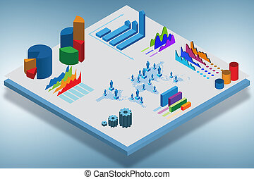 Isometric view of various business charts - 3d rendering