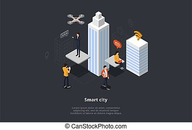Isometric View Wireless City Composition With People Using Modern Technologies. Vector 3D Illustration In Cartoon Style. Male And Female Characters With Phones, Laptops Between Skyscrapers In City