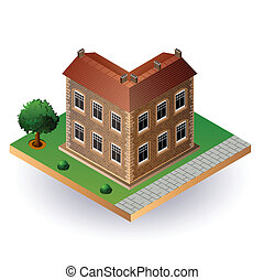 Isometric vintage house - Stylized image of an old town...